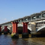 Pillars from the old Blackfriars bridge alongside the new bridge