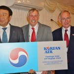 Korean Air Manager Roy Kim with prize winner Roger Finch