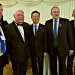 BKS Treasurer Chris Hollands, Sir Stephen Brown, Ambassador Hwang, Sir Edward Davey MP and Warwick Morris